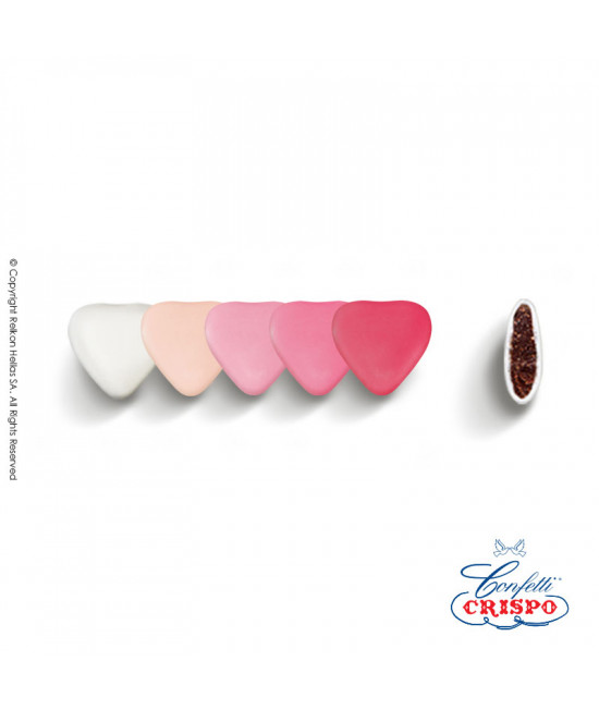 Κουφέτα Crispo Αποχρώσεις (Σοκολάτας υγείας) Mini Καρδιές Ροζ 500g