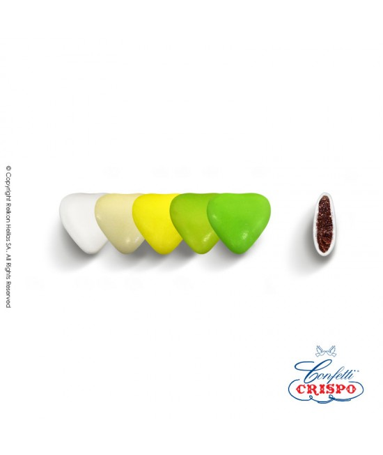 Confetti Crispo Selection (Bitter Chocolate) Mini Hearts Green 500g