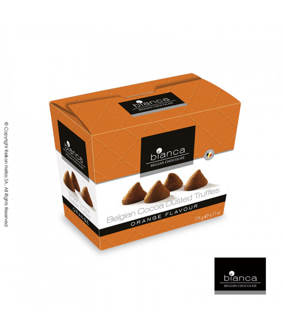 Belgian cacao truffles with orange flavor